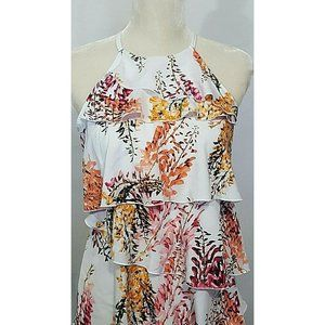 Womens Sleeveless Keyhole Blouse Size S  Floral Wh